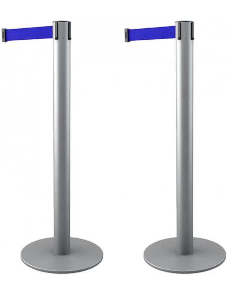 poste con cinta extensible 3 metros, color azul corporativo RAL 5002, poste plateado