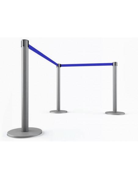 3 postes con cinta extensible 3 metros, color azul