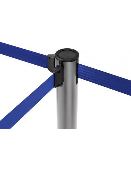 poste con cinta extensible 2 metros, color azul, interconectable con otros postes